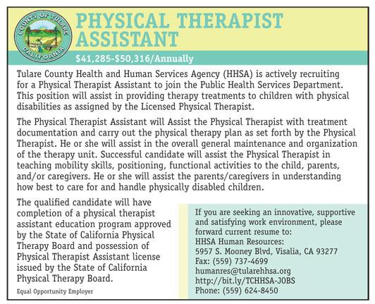 Physical Therapist Assistant Job In Visalia California